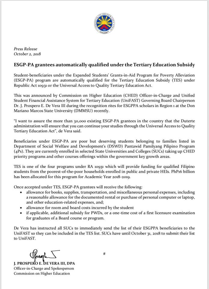 ESGP-PA grantees automatically qualified under the Tertiary